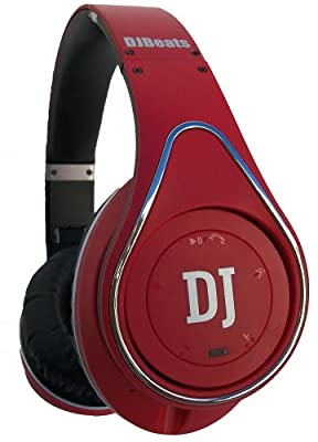 DJ Beats Stereo Bluetooth Headphones On-ear Noise Cancelling with Wireless Music Streaming and Hands-free Calling (Red)
