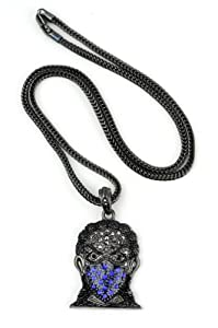 "Iced Out Hematite/Blue Tone Ninja Pendant 3mm 22.5"" Franco Chain HC4064HEBL"