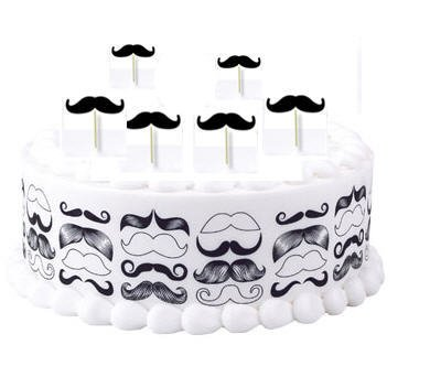 Cakesupplyshop Diy1001 - Do It Yourself Mustache Birthday Party Cake Decoration Kit - 8inch Cake