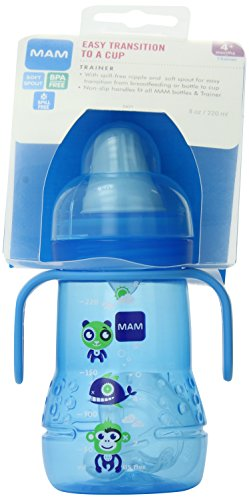 MAM Feeding Trainer with Handles, 8 Ounce,  Blue - 1