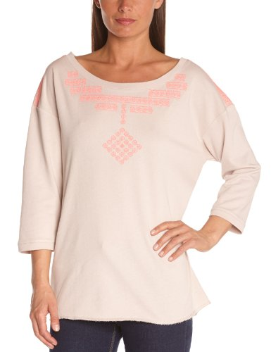 Bensimon - Maglia, colletto tondo, manica lunga, donna, Rosa (Rose Clair (Rose Pale)), S