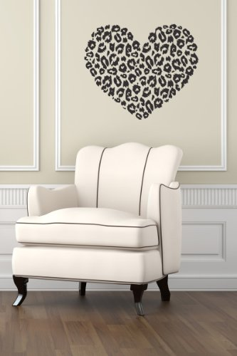 Housewares Wall Vinyl Decal Heart With Leopard Cheetah Dots Home Art Decor Kids Nursery Removable Stylish Sticker Mural Unique Design For Any Room back-1018956
