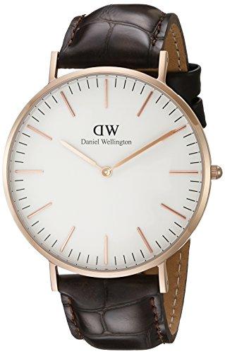 Daniel Wellington 0111DW - Reloj analógico, para hombre, color blanco y marrón