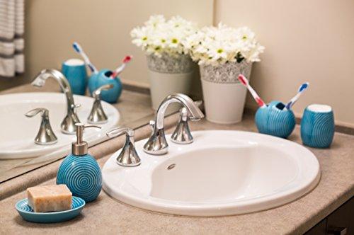 Designer 4-Piece Ceramic Bath Accessory Set by Comfify | Includes Liquid Soap or Lotion Dispenser w/ Premium Metal Pump, Toothbrush Holder, Tumbler, Soap Dish | Zen Garden | Aqua Blue