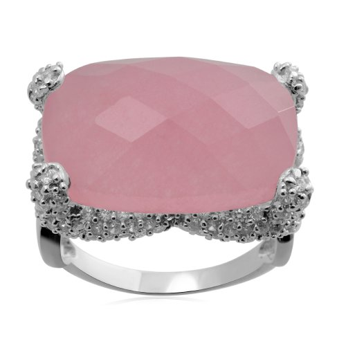 Sterling Silver Octagon Pink Quartz and Cubic Zirconia Ring,Size 7