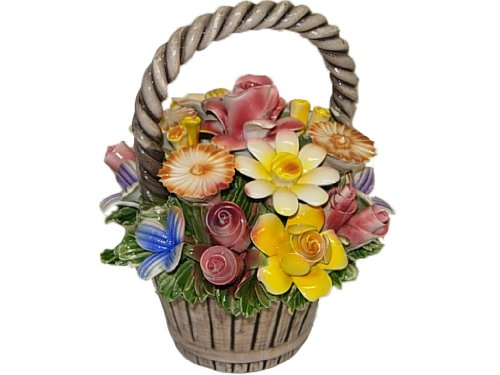 Italian Capodimonte Assorted Flower Basket with Handle