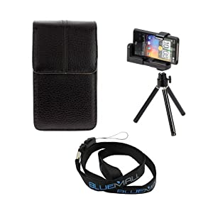 GTMax Cellphone Holder Tripod Stand + Vertical Leather Pouch Case + Neck Strap Lanyard for HTC Rezound /Vigor 6425, Amaze 4g, EVO 3d & Samsung Galaxy Nexus i515/i9250, Galaxy S2 / SII I9100, Note N7000; Camera