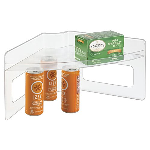 mDesign Home Kitchen Lazy Susan Storage Shelf with Handle for Kitchen Cabinets, Pantry - Clear (Corner Storage Bin compare prices)