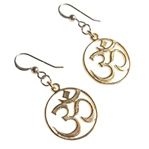 Delicate Om Gold Dipped Earrings on French Hooks