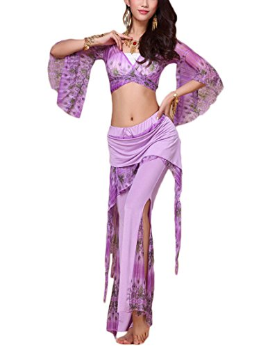 MFrannie® Mandarin Sleeve V-Neck Printed with Ruffles Belly Dance Costume