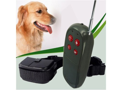 Woputuo Anti Bark Pet Dog Training Electric Shock Collar 4 In 1 Remote Control With Vibration + Static Impulse + 3-Level Whistle + Led Light