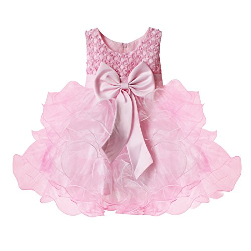 YiZYiF Little Girls Beading Bodice Big Bow Pageant Wedding Princess Flower Dress Pink 6-9 Months