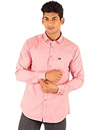 FA French America Pink Color Solid Slim Fit Full Sleeve Casual Cotton Shirt For Men