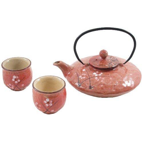 Cherry Blossom Traditional Asian Teapot 3 Piece Set