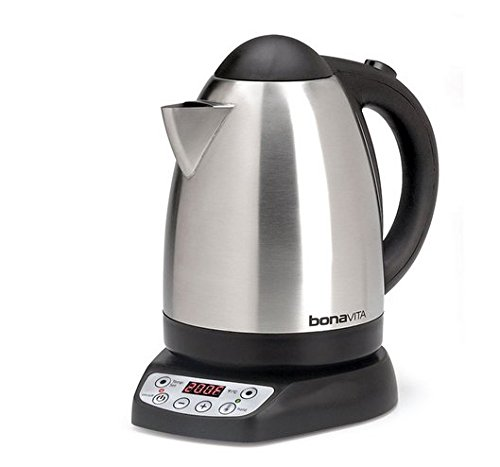 Tea Kettle-Bonavita Coffee 1.79-Qt. Variable Temperature Electric Tea Kettle-Electric Tea Kettle-With Variable Temperature Allows For Exact Temperature Of Coffee Brewing Or Tea Extraction-Heat And Hold At Set Point For 60 Minutes-Brushed Stainless Steel T