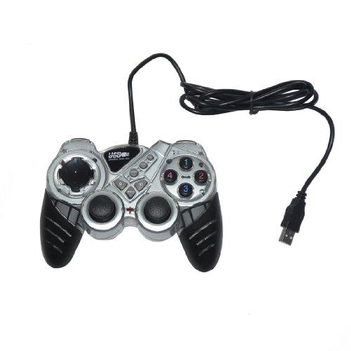 USB Double Dual Shock Joypad Game & Computer Controller - Silver & Black