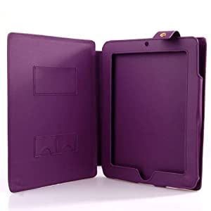 NEEWER PURPLE! Protective Faux Leather iPad1 Case with Snap Flap for Security and Ease of Use. BUILT IN KICKSTAND great for Movie Watching and Book Reading!!