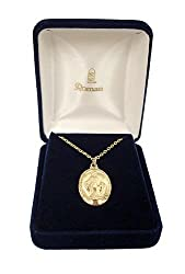 Gold Religious Miraculous Virgin Mary Pendant Necklace 18""