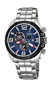 Festina Men's Quartz Watch with Blue Dial Chronograph Display and Silver Stainless Steel Bracelet F16583/3