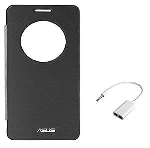 Tidel Black Premium Durable Circle Window Flip Cover For Asus Zenfon 2 Laser 5.5 WITH Audio Spliter