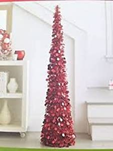 Amazon Com 7 Ft Collapsible Tinsel Artificial Christmas