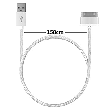 4.5ft Long iPhone 4 Cable,USB Sync and Charging Cable for iPhone 4/4S,iPhone 3G/3GS,iPad 1/2/3,iPod[Blue+pink+purple]