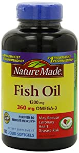 Nature Made Fish Oil Omega-3 1200mg, 180 Softgels (Pack of 3)