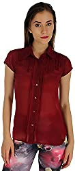 Holidae Women's Georgette Sheer Fitted Shirt (hi-tp-sh-081_XXL, Maroon, XXL)