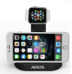 AEDILYS® 2 in 1 charging stand, cradle, charging station desktop charger holder for Apple watch for iphone (black), Apple Watch Stand