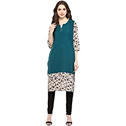 WOMEN KURTA: 100% Cotton Bodice with Printed Sleeves and Bottom Kurta for Women, Designed in NYC