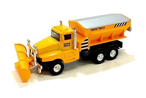 "6"" Sunny Yellow Diecast Snow Plow Salt Truck with Pull Back and Go Action"
