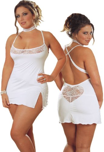 Plus Size White Babydoll Lingerie Set - Baby Doll, Neckband and Thong