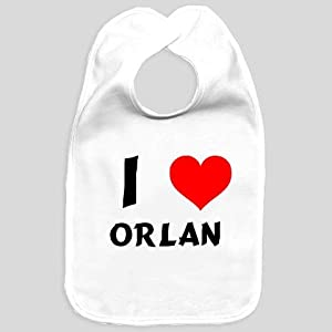 Baby bib with I Love Orlan (first name/surname/nickname)