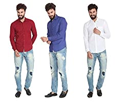 Pelican's Pack Of 3 Blue, Maroon & White Slim Fit Casual 100% Cotton Shirt