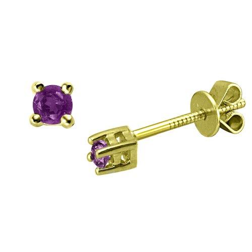 Children's 10K Gold Overlay Sterling Silver Amethyst Stud Earrings