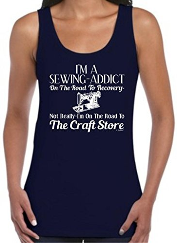 Sewing Addict On The Road To Recovery, Craft Store Juniors Tank Top Medium Navy
