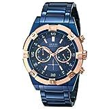 [ゲス]GUESS Men's U0377G4 Iconic Blue Plated Chronograph Watch with Rose Gold-Tone Case & Accents 腕時計 [並行輸入品]