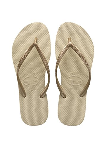Havaianas Women's Slim Sandal Flip Flop, SND Grey/Light Golden, 37 BR/7/8 W US