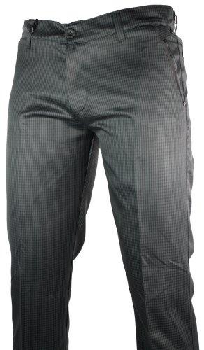 Mens Slim Fit Trousers Shiny Black Green Check Italian Design Smart