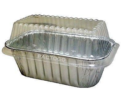 Durable Packaging Durable 1 lb. Aluminum Foil Small Mini-Loaf Bread Pan w/Clear Dome Lid 50/Pk (pack of 50)