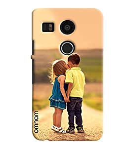 Omnam Sweet Girl Kissing Little Boy Love Affection Designer Back Cover Case For LG Nexus 5 X