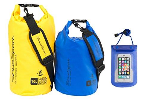 Sirius-Sports-Premium-Waterproof-Dry-Bags-Dry-Sacks-5L-10L-Light-But-Durable-Boating-Bag-Set-For-All-Watersports-Camping-Hiking-or-Beach-Includes-Fully-Waterproof-Mobile-Phone-Case