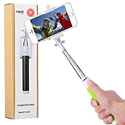 Compact Selfie Stick, NOOT PRODUCTS® Compact Series Foldable Portable [Pocket Size] Self-Portrait Monopod Extendable Selfie stick with built-in Bluetooth Remote Shutter for Apple iPhone and Android Smartphone - Green