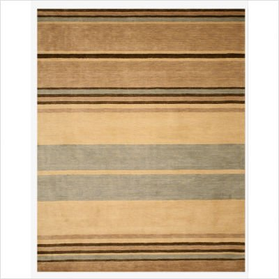 "Handloom Tufted Wool Alden Stripe Beige Contemporary Rectangular Rug Size: 7'9"" x 9'9"""