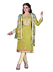 Aaliya green colored dress material