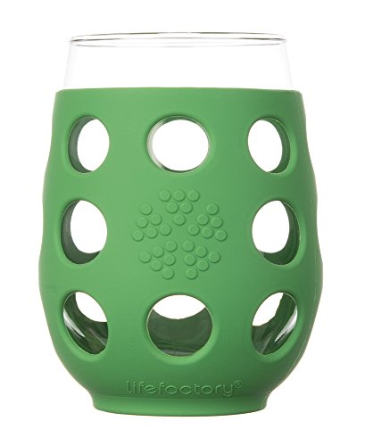 Lifefactory 11-Ounce BPA-Free Indoor/Outdoor Wine Glass with Protective Silicone Sleeve, Grass Green, Set of 2 (Green Tea Wine compare prices)