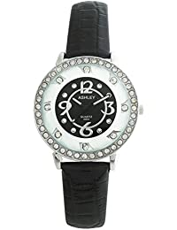 ASHLEY Black Dial Black Leather Strap Analogue Watch For Girls-Women (ASY0512)