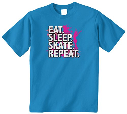 Threadrock Big Girls' Eat Sleep Skate Repeat Youth T-Shirt L Turquoise front-12430