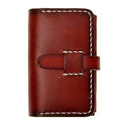 ZLYC Unisex Handmade Vegetable Tanned Leather Belt Closure Slim Wallet Card Case, Dark Red