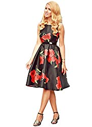 Rozdeal Black & Red Fancy Colour Designer Semi Stitched Taffeta Silk Western